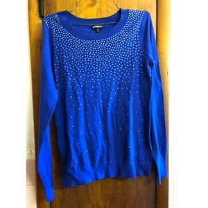 Express Cobalt Blue Rhinestone Sweater